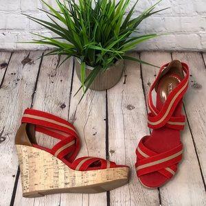 Merona red wedge sandals with cork pattern heel